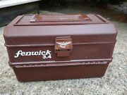 Vintage Fenwick 3.4 Fishing Tackle Box 4-tray Brown Clean And Nice