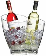 4x Barcraft Clear Acrylic Double Sided Drinks Pail / Cooler