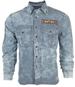 Affliction Menand039s Long Sleeve Button Down Shirt Fort Story Denim Embroidered S-3x