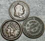Lot Of 3 Civil War Token Navy Federal Union Franklin Liberty Ny Medals R762