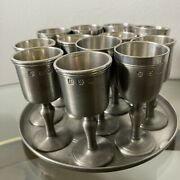 """Vtg John Somers Pewter Party Tray And Set Of 12 Cordial 3.5"""" Cups Js X Mg Brazil"""