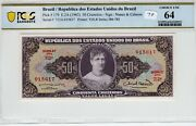 Brazil 1963 50 Cruzeiros Pcgs Banknote Currency Choice Unc 64 Pick 179 Tdlr