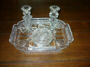 Vintage 5-piece Art Deco Glass Dresser Set-candle Holders-jar With Lid And Tray