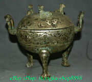 9 Old China Bronze Ware Silver Dynasty Dragon Beast Word Incense Burners