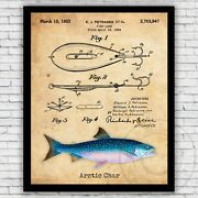 Arctic Char Fishing Spoon Bait Lure Patent Art Print Decor Size And Frame Options