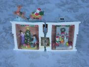4 3/4 Folding Christmas House Santa Claus Sled And Reindeer Highly Detailed Rare