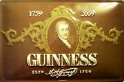 Guinness Portrait Tin Sign Shield 3d Embossed Arched 7 7/8x11 13/16in