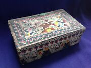 Rare Antique 19th C American Folkart Hand Colored Embossed Paper Box Flag Eagle