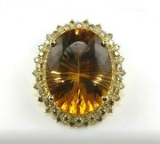Natural Oval Orange Citrine And Diamond Solitaire Ring 14k Yellow Gold 23.20ct
