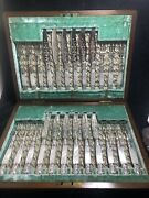 Beautiful Antique Silver Plated Mother Of Pearl Handles Desert Cutlery Set Of 24