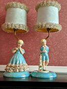 Pair Of Vintage Victorian Girl And Boy Matching Table Lamp Set Made In 1953