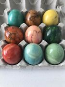Lot Of 9 Alabaster Marble Stone Eggs Easter Decor