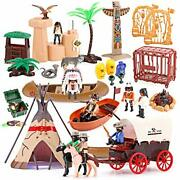 Liberty Imports Deluxe Wild West Cowboys And Indians Plastic Figures Playset ...