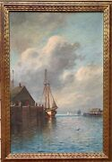 Antique Early 1900and039s Oil Painting On Canvas By W.m.frederico. Seascape Dock
