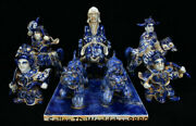 14old Blue White Porcelain Human Ride Horse Downhill Of Ghost Valley Statue Set