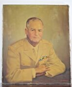 Vintage Wwii Full Bird Army Colonel Portrait Oil Painting Signed