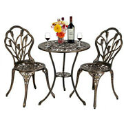 3pcs European Style Aluminum Outdoor Table And Chairs Set Antique Bronze Finish