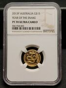 2013 Perth Mint 15 Gold Coin Lunar Snake 1/10 Oz Proof - Ngc Pf 70 Ultra Cameo