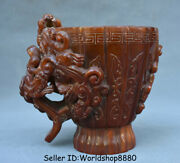 6 Old China Qing Dynasty Ox Horn Carved Dragon Beast Handle Oxhorn Drinking Cup
