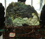 14.8 Natural Dushan Jade Carved People Pine Tree Pavilion Mountain Water Statue