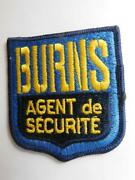 Burns Security Guard Patch Vintage Employee Uniform Badge Crest French