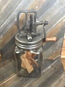 Glass Butter Churn Wooden Handle Wood Paddles Antique 2 Qt Nice