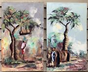 Pair Of Vintage African Oil On Canvas Paintings Villages With Figures Signed
