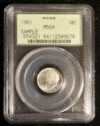Pcgs, Early Sample Slab, 1961 Roosevelt Dime, Ms64, Green Paper. Our Bb15