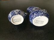 Vintage Crownford Staffordshire England Blue Calico Pitcher Coffee Creamer