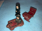 Vintage Cast Iron Amish Figures Two Girls Desk And Wagon