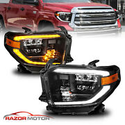 [full Led Drl Switchback ]for 2014-2021 Toyota Tundra Black Projector Headlights