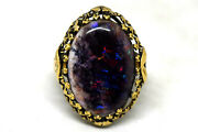 Antique Victorian 14k Gold And Large Natural Black Opal Ring Size 7