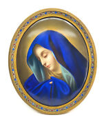 Kpm Berlin Hand Painted Porcelain Plaque Of Mary By Henry Brucker, 19th C.