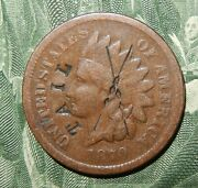 Old Scarce Date 1870 Indian Head Cent With A Tee Pee Counter Stamped On Obverse