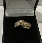 Qvc Ladies 9ct Gold Cubic Zirconia Cluster Band Ring Size U 4.56g