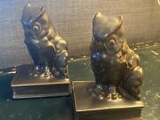 Rare 1933 Rockwood Pair Of Owl Bookends