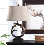 Farmhouse Table Lamp Antler Style Lodge Cabin Rustic Country Living Bed Room 30