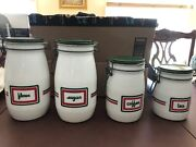4 Vtng Wheaton 70s Milk Glass Flour/sugar/tea/coffee Canister Red And Green Stripe