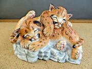 1988 Lenox Porcelain Figurine Nature's Young Played Out Cougar Cubs Baby Animals