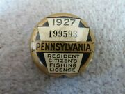 Vintage 1927 Pennsylvania Resident Fishing Button Pin And Matching Paper License