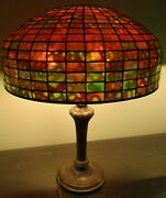 Stained Glass Lamp 18 Inch Geometric Shade Handel Base