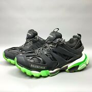 Balenciaga Track Glow Sneakers Size 38 Women's Black Green Lace Up Shoes 570390