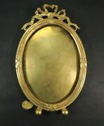 Antique French Empire Bow Top Gild Bronze Oval Picture Frame