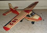 Old Vintage Tin Friction Powered Plane Toy From Japan 1930 .