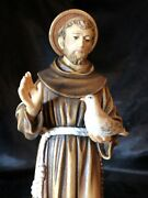 """St Saint Francis Hand Carved Painted Figurine 8"""" In Box 🎁"""