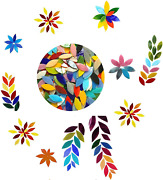 Petal Mosaic Tiles, Hand-cut Stained Flower Leaves Glass Tiles , Assorted Colors