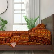 Tiki Tapa Cloth Orange Red Rust Vintage 100 Cotton Sateen Sheet Set By Roostery