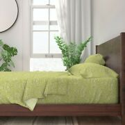 Green Indian Toile English Chartreuse 100 Cotton Sateen Sheet Set By Roostery