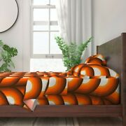 Orange And Brown Retro Midcentury 100 Cotton Sateen Sheet Set By Roostery