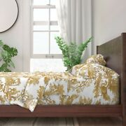 Toile Chinoiserie Asian Gold White 100 Cotton Sateen Sheet Set By Roostery